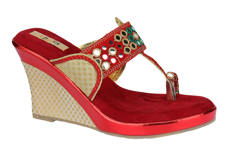 Elina Red Women Wedges