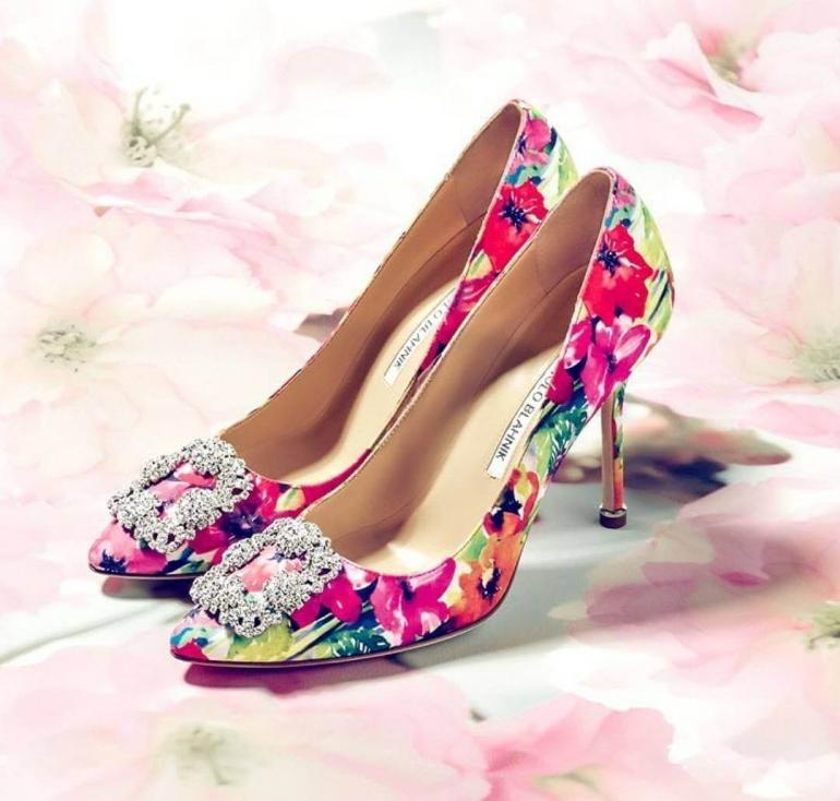 Floral bride shoes