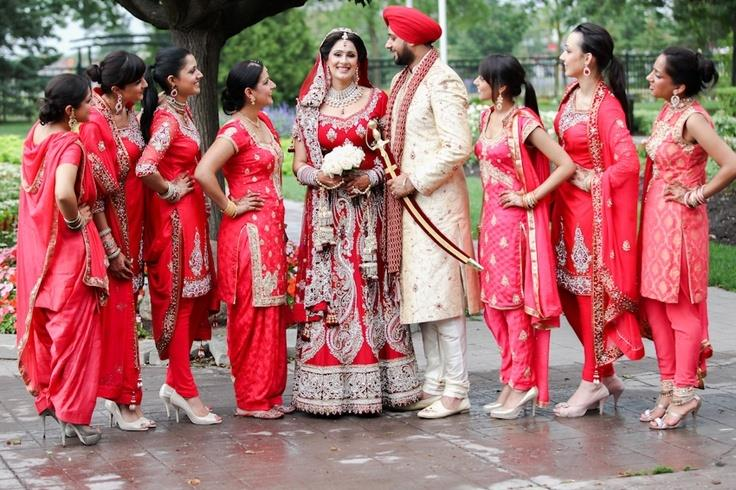 red indian bridesmaid saris outfit