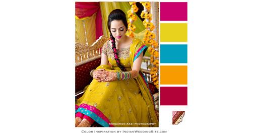Indian Wedding Inspiration Color Palette- Chartreuse & Framboise