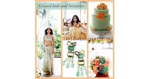 Indian Wedding Inspiration Pantone Spring Colors Grayed Jade and Nectarine