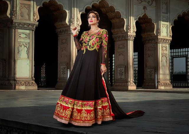 lashkaraa red black gold anarkali