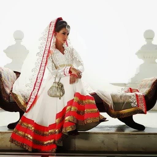 lashkaraa gold white red anarkali
