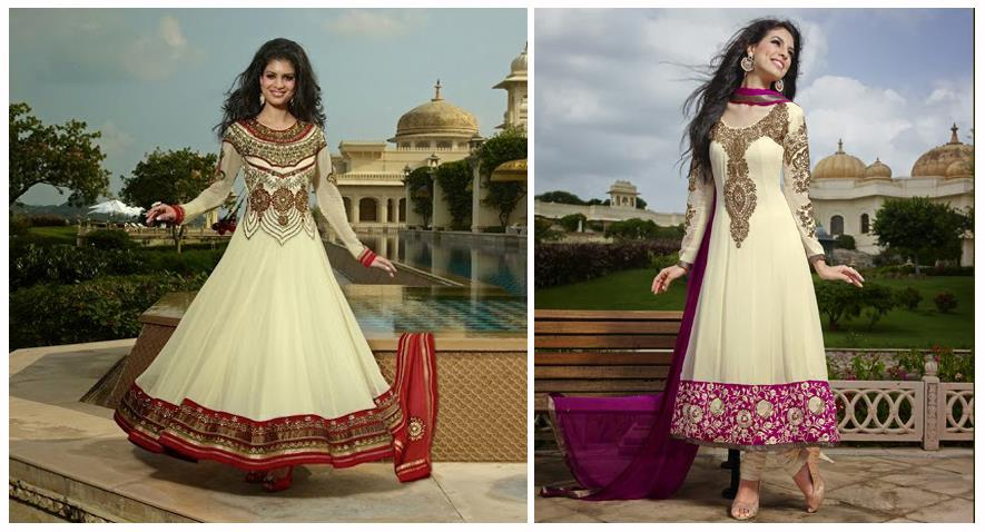 lashkaraa cream gold pink red anarkali