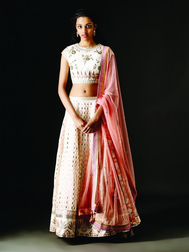The Malika lehenga and Chandrika earring by Anita Dongre