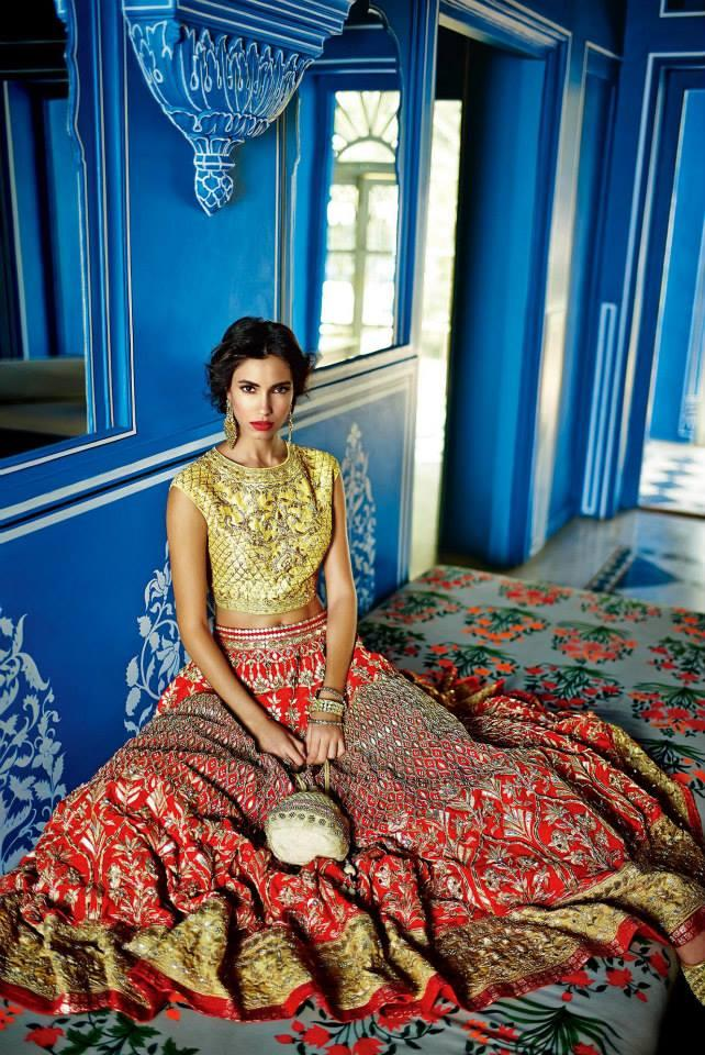 Anita Dongre Festive 2014 collection gold and red lengha 3