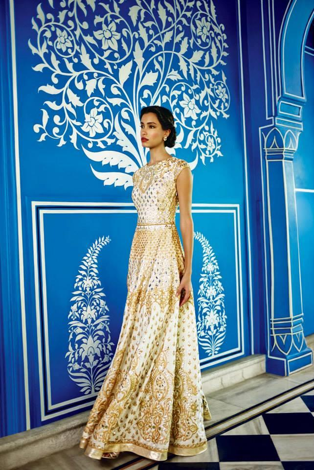 Anita Dongre Festive 2014 collection gold lengha 2