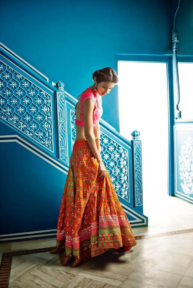 Anita Dongre Festive 2014 collection orange and pink lengha choli 5