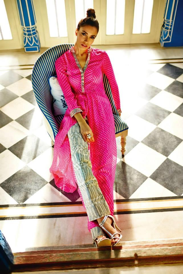 Anita Dongre Festive 2014 collection pink printed pant suit 7