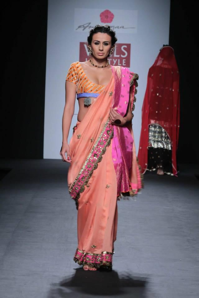 Anupamaa by Anupama Dayal at Wills Lifestyle India Fashion Week 2014 peach sari