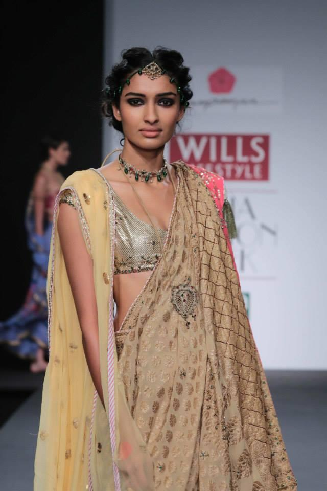 Anupamaa by Anupama Dayal at Wills Lifestyle India Fashion Week 2014 yellow beige saree