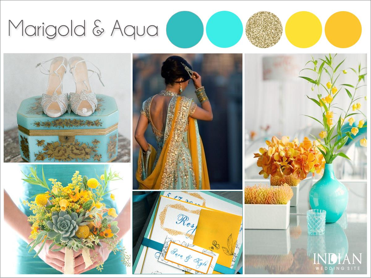 Marigold-yellow-aqua-gold-indian-wedding-palette