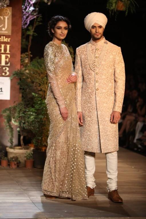 dcw-13-sabyasachi-gold-ivory-sari-sherwani-e1375725995676