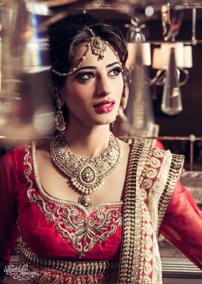 indian bridal lengha and jewelry