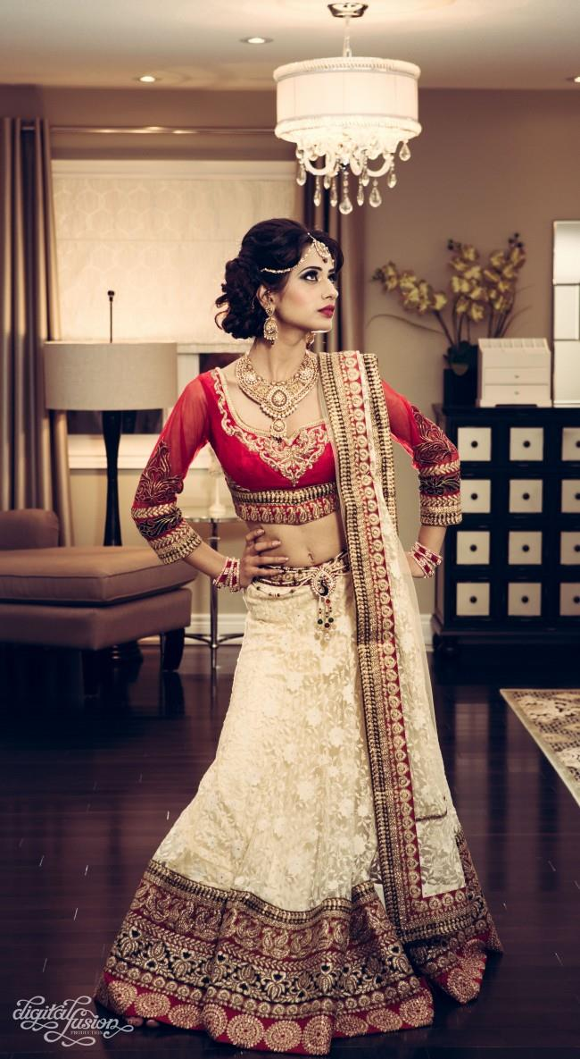 indian bridal shoot red and white bridal lengha