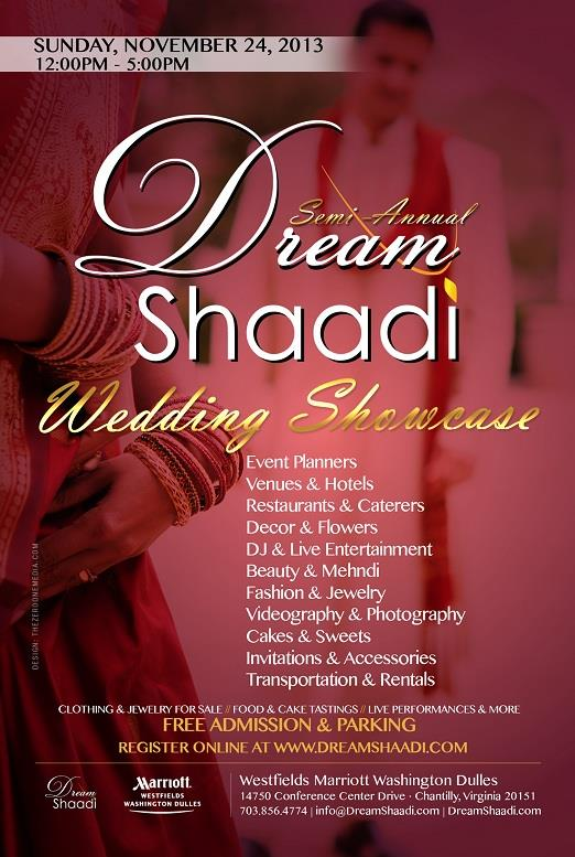 Dream Shaadi Wedding Showcase, Sunday, Nov 24 in VA