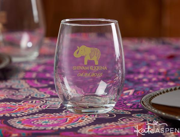 Personalized 9 oz Stemless Wine Glass - Indian Jewel