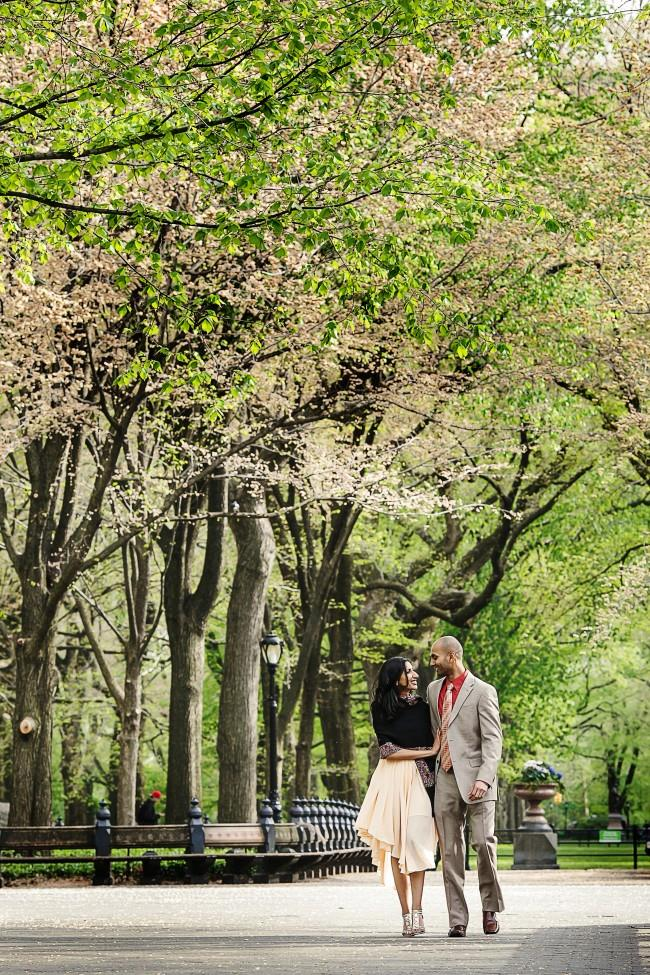 7 outdoor trees central park indian engagement session