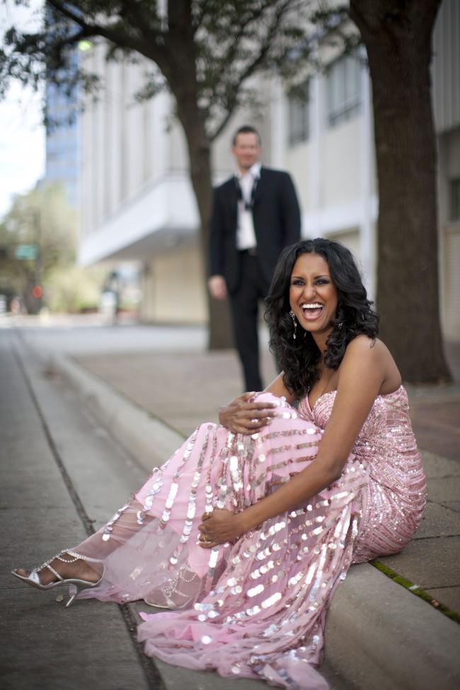 3 outdoor pink long gown engagement session strappy shoes