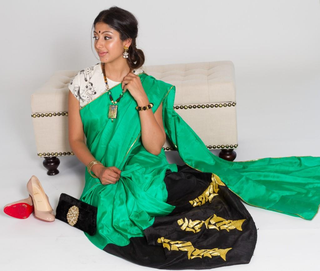 Masaba green sari borrow it bindaas