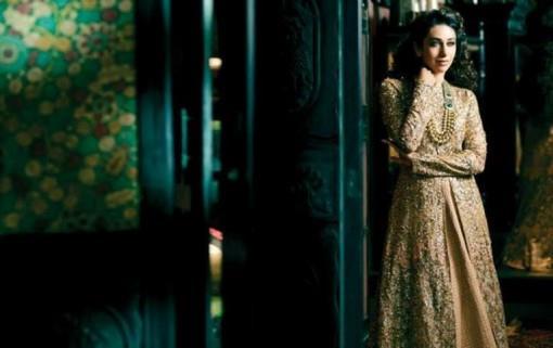 Karisma Kapoor in Indian bridal gold by Sabyasachi Mukherjee