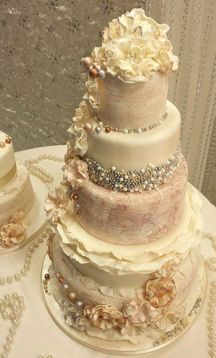 indian wedding gold silver ivory cake