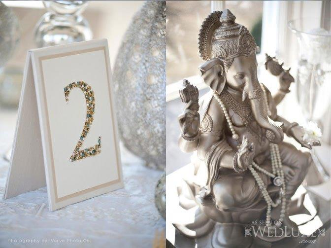 silver ganesh glitter table number indian wedding decor