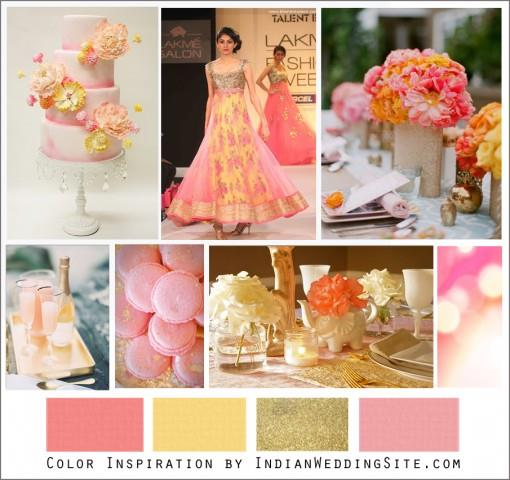 Grapefruit Pink, Butter Yellow and Gold Palette - Indian Wedding Color Inspiration