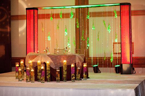 Green and Gold Indian Wedding Reception