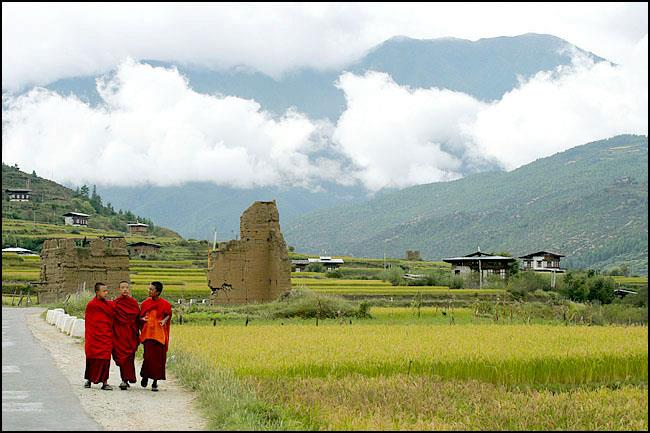 Monks near Ruins