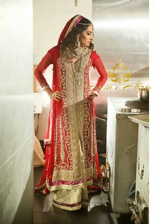 husn e afza couture bridal anarkali gold red