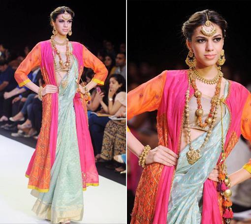 iijw-dhora-rivaayat-gold-jewelry-blue-pink-coral-sari