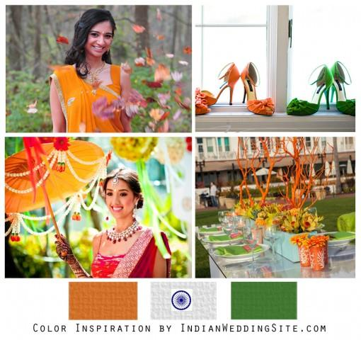 Indian Independence Day Wedding Color Inspiration - Orange Green and White