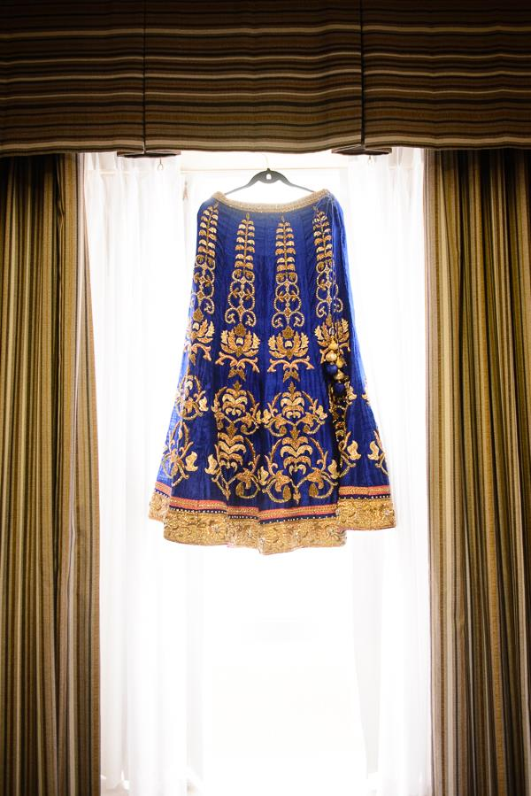 1a indian wedding blue and gold lengha