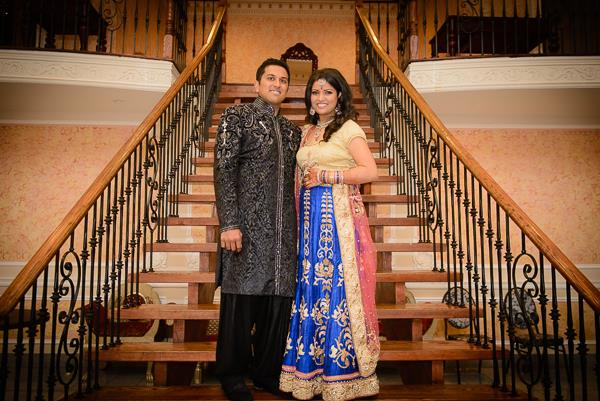 21a indian wedding bride and groom portrait blue lengha