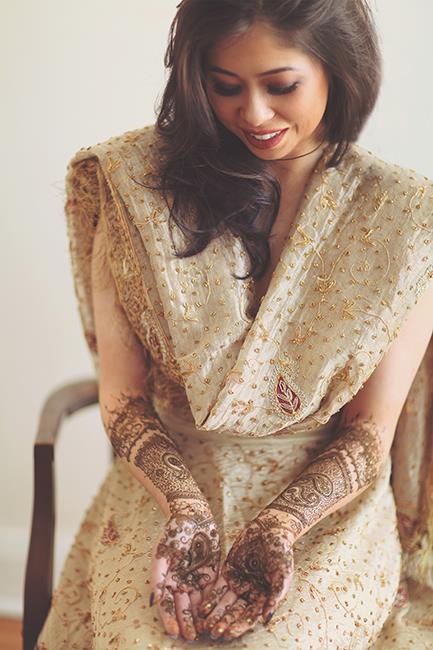 4 Indian Wedding Cream lengha and mehndi