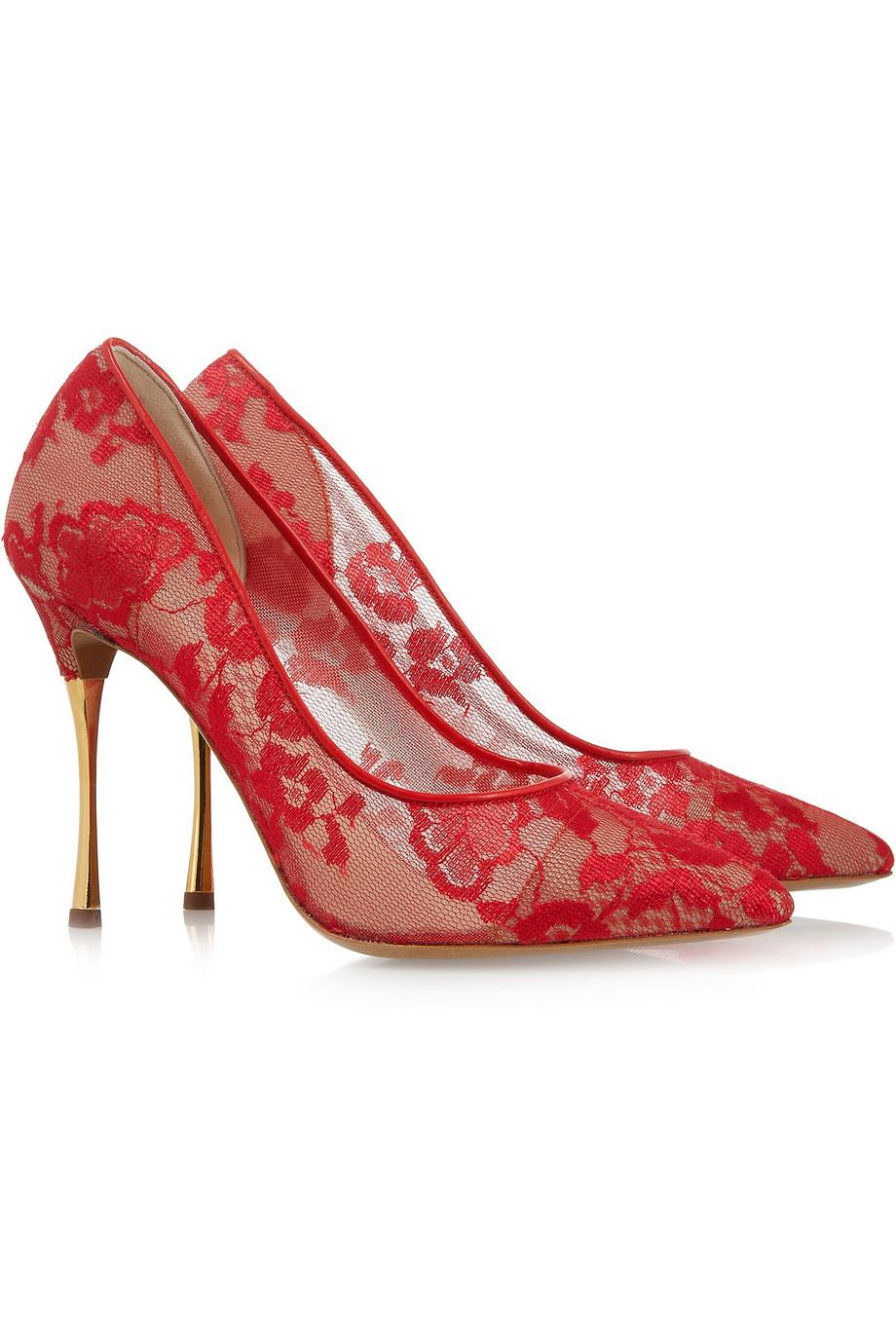 Fiery Red Lace and Gold Indian Wedding Shoes