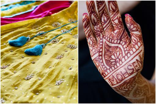 Mehndi Party Invites : Mustard green and pink pakistani mehndi party