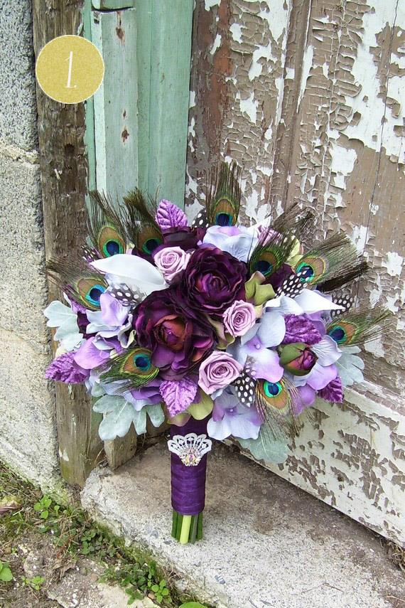 indian -wedding-bouquet-purple-peacock-feathers