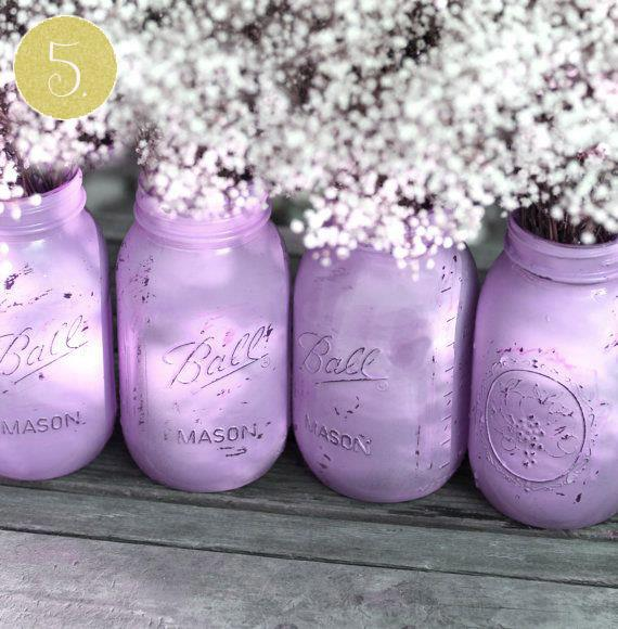lavender painted mason jars indian wedding decor