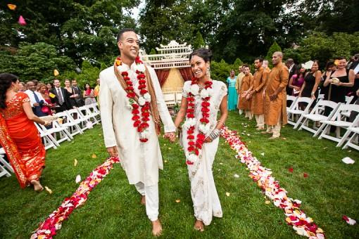 Outdoor Red and White Hindu Ceremony by Lisa Hancock Weddings - 1