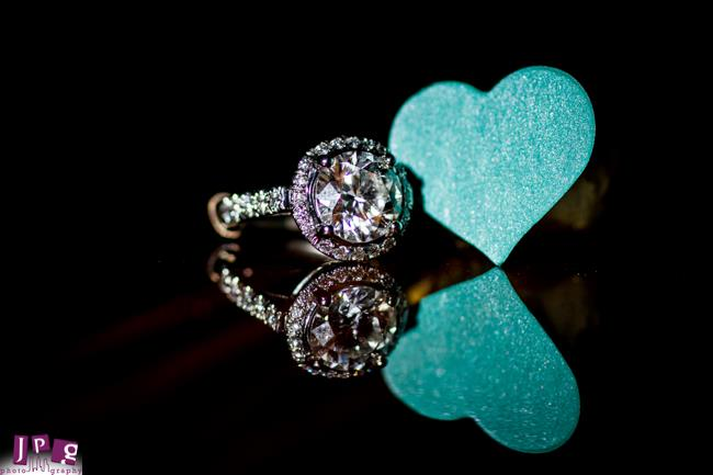 2 Indian Engagement Party tiffany themed round halo ring