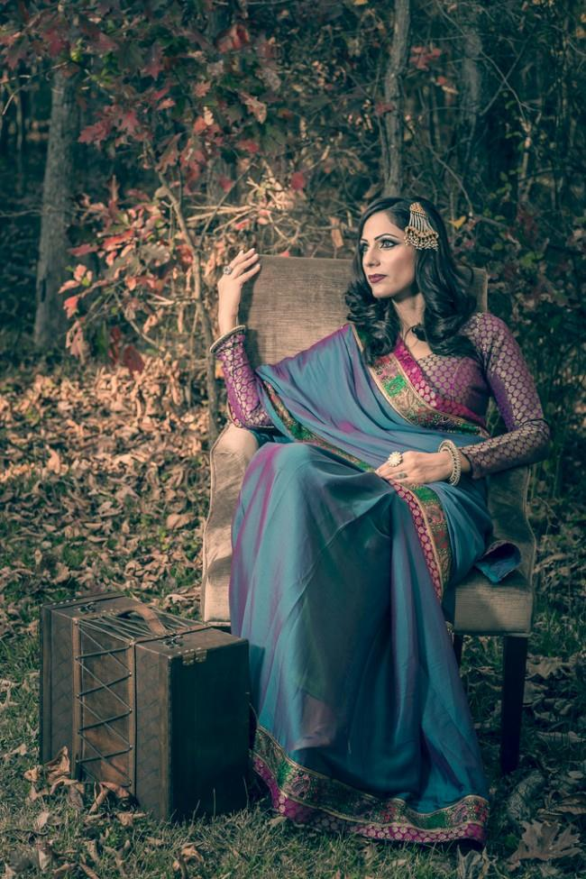 vintage insprired bridal shoot purple and blue sari