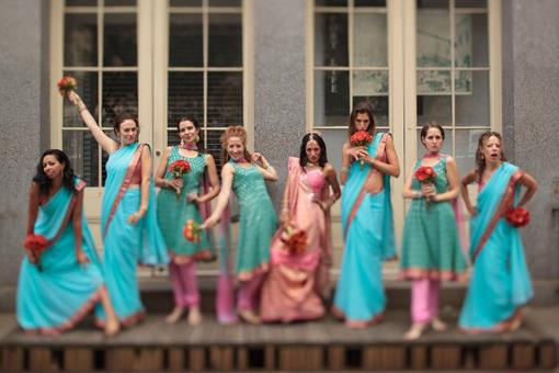 Pink and Blue Indian Wedding Bridesmaids - Purva & David I