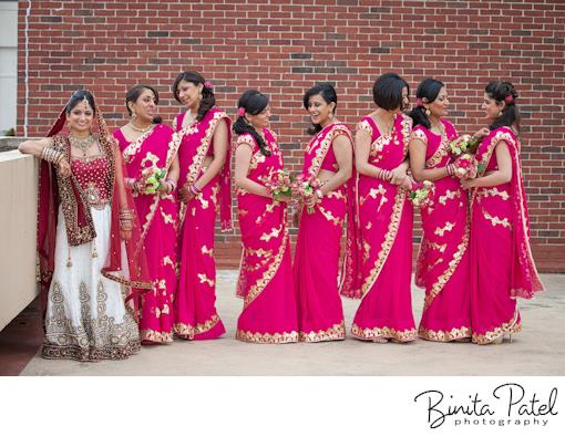 Pink Bridesmaids Saris and a Getaway Car