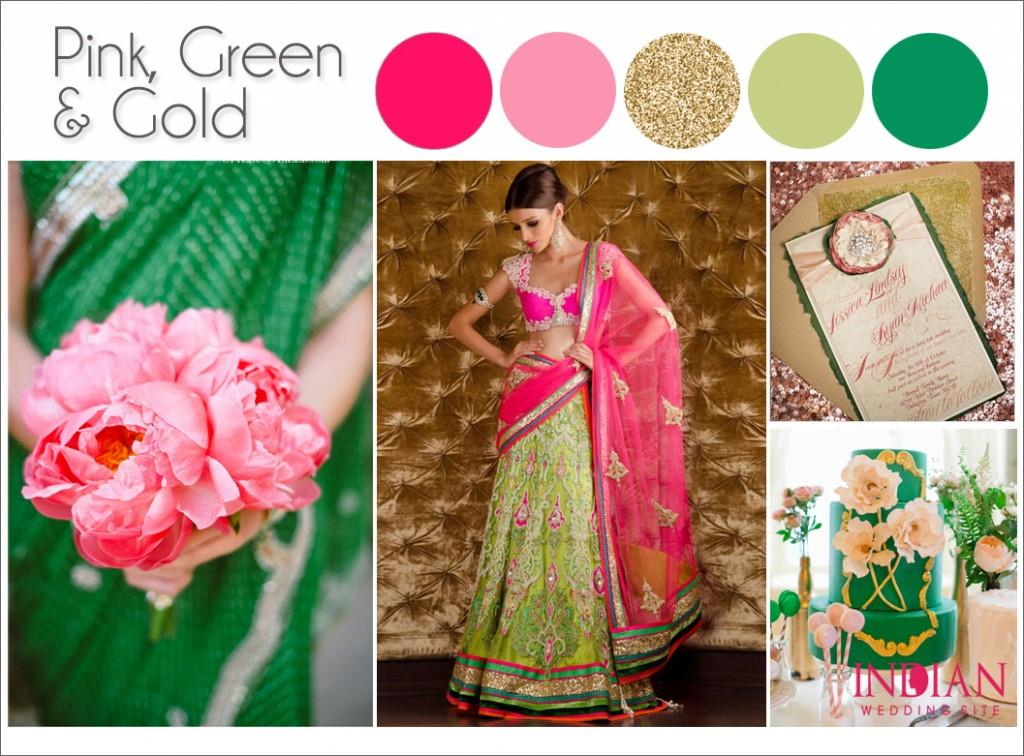 Pink Green & Gold Palette