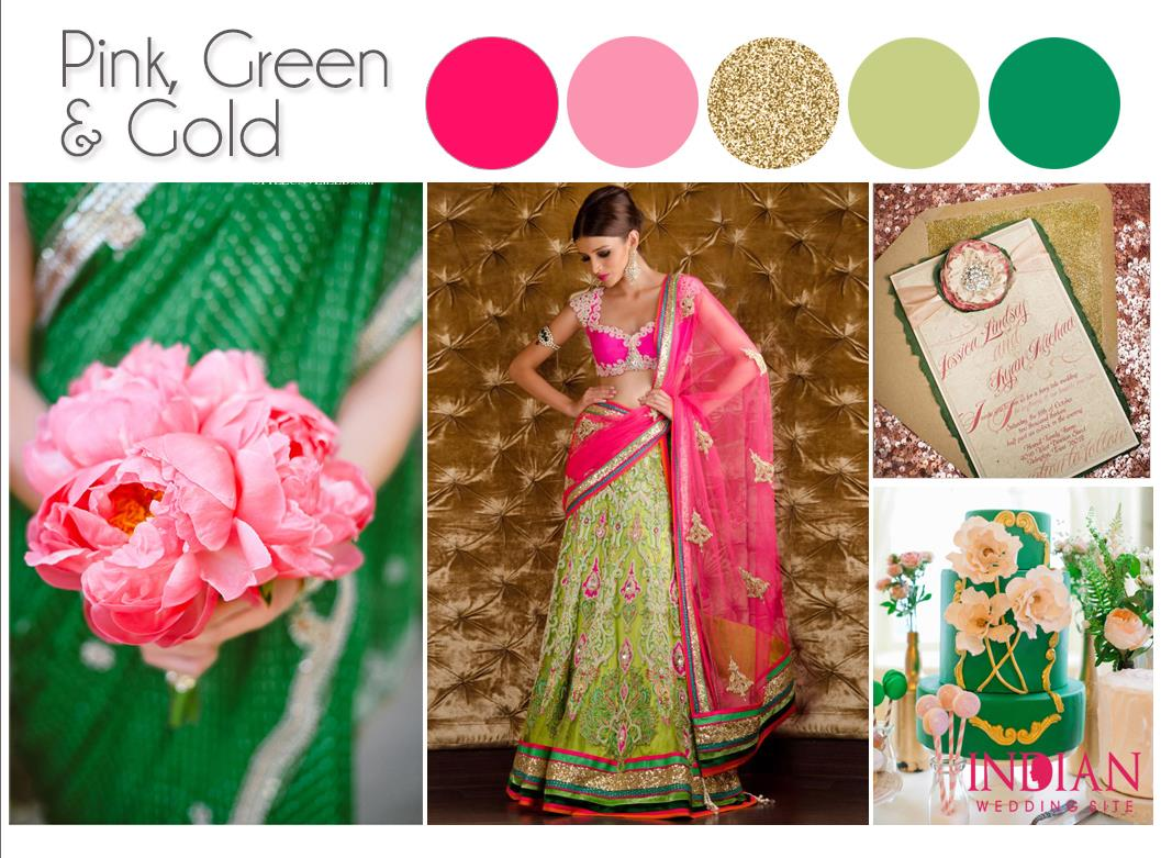 Pink, Green & Gold Indian Wedding Color Palette