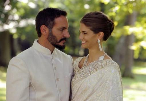 Prince-Rahim-Aga-Khan-and-Princess-Salwa-Aga-Khan-ivory-Manav-Gangwani-bridal-sari-and-sherwani-e1378255567341