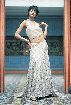 Khubsoorat Collection white halter lehnga