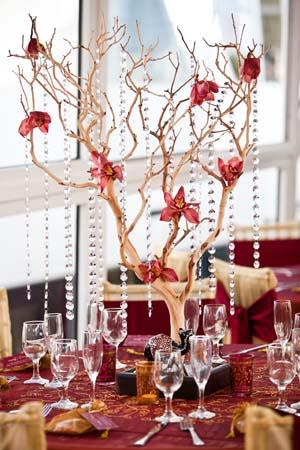 Shalini Vadhera Tony Potts Reception Crystal Tree Centerpiece